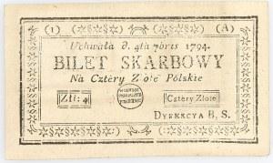 Insurekcja Kościuszkowska, 4 złote 04.09.1794, seria 1-A