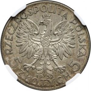 II RP, 5 złotych 1932 ze znakiem mennicy, Warszawa, głowa kobiety
