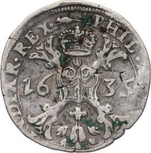 Francja, Artois, Filip IV, 1/2 patagona 1635, Arras