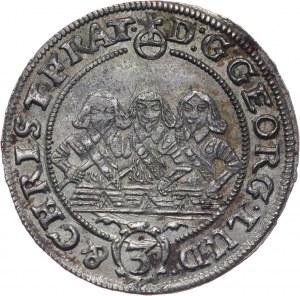 Śląsk, Księstwo Legnicko-Brzesko-Wołowskie, Jerzy III Brzeski, Ludwik IV Legnicki i Krystian Wołowsko-Oławski, 3 krajcary 1656, Brzeg