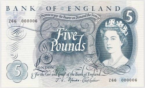 Wielka Brytania, Elżbieta II, 5 funtów (1963-71), Seria Z66 000006