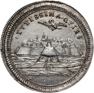 Węgry, Siedmiogród, Karol III, srebrny medalik bez daty (1715), twierdza Karlsburg