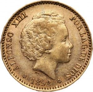 Hiszpania, Alfons XIII, 20 peset 1892 (*18-92) P.G.-M., Madryt