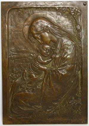 Plakieta w brązie z 1908 roku, Matka Boska z Dzieciątkiem, Cieplice Śląskie-Zdrój