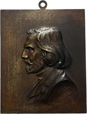 Plakieta w brązie z 1903 roku autorstwa Czesława Makowskiego (1873-1921)