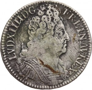 Francja, Ludwik XIV, Écu aux 3 couronnes 1711 A, Paryż