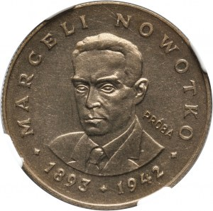 PRL, 20 złotych 1974, Marceli Nowotko, PRÓBA, miedzionikiel