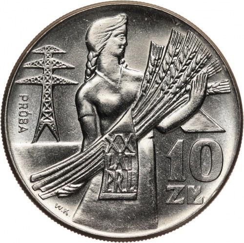 PRL, 10 złotych 1964, Kobieta z kłosami (XX Lat PRL), PRÓBA, nikiel