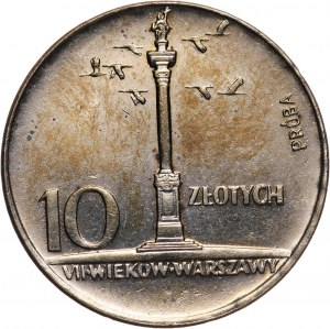 PRL, 10 złotych 1966, Mała Kolumna, PRÓBA, miedzionikiel