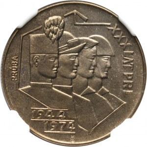 PRL, 20 złotych 1974, XXX Lat PRL, Górnik, PRÓBA, miedzionikiel