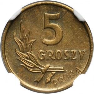 PRL, 5 groszy 1958, PRÓBA, mosiądz