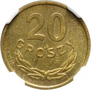PRL, 20 groszy 1957, PRÓBA, mosiądz