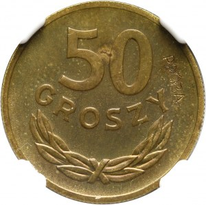 PRL, 50 groszy 1957, PRÓBA, mosiądz