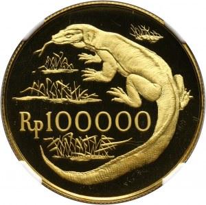Indonezja, 100000 rupii 1974, Waran z Komodo, stempel lustrzany