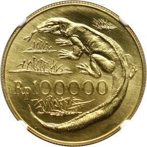 Indonezja, 100000 rupii 1974, Waran z Komodo, stempel zwykły