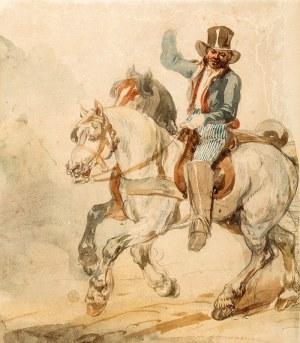 Piotr Michałowski (1800 Kraków – 1855 Krzyżtoporzyce) Para koni w zaprzęgu z pocztylionem, lata 1832–1835