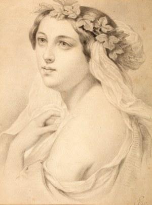 Artur Grottger (1837 Ottyniowice – 1867 Amélie-les- Bains) Portret dziewczyny w wianku na głowie