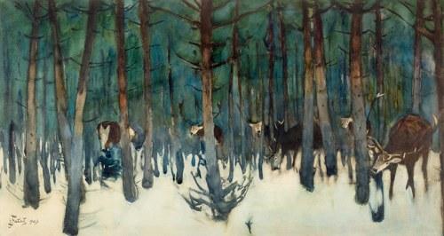 Julian Fałat (1853 Tuligłowy-1929 Bystra) Jelenie, 1909 r.