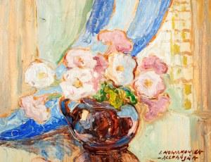 Irena Nowakowska Acedańska (1906 Lwów – 1983 Gliwice) Kwiaty w okrągłym wazonie