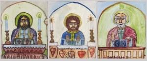 Nikifor KRYNICKI (1895-1968), Trzy wizerunki świętych we wspólnej oprawie