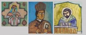 Nikifor KRYNICKI (1895-1968), Trzy popiersia duchownych we wspólnej oprawie
