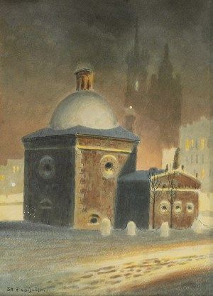 Stanisław FABIAŃSKI (1865-1947), Kościół św. Wojciecha w Krakowie nocą