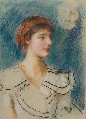 Teodor AXENTOWICZ (1859-1938), Dziewczyna i maska, ok. 1915