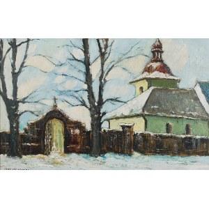 Józef CZAJKOWSKI (1872-1947), Motyw zimowy z kościołem