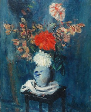 Zygmunt MENKES (1896-1986), Martwa natura z kwiatami i taboretem, 1927