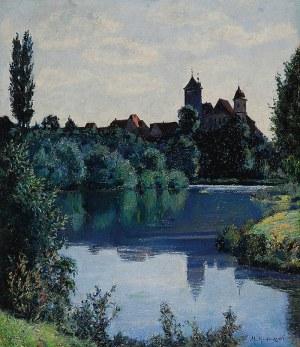 Mieczysław RAKOWSKI (1882-1947), Pejzaż nadwodny z miastem w tle