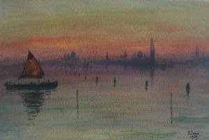 Soter JAXA-MAŁACHOWSKI (1867-1952), Wenecja o zmierzchu, 1929