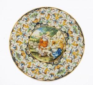 Talerz dekoracyjny z groteską i miniaturą: Diana wyruszająca na łowy