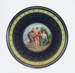 Talerz dekoracyjny z miniaturą bachiczną