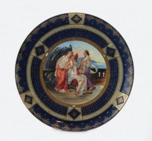 Talerz dekoracyjny, z miniaturą wg Angeliki Kaufmann Damon i Delia?