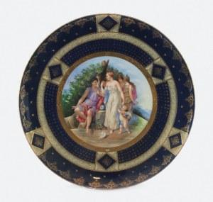 Talerz dekoracyjny z miniaturą mitologiczną wg Angeliki Kaufmann?, Sąd Parysa ?