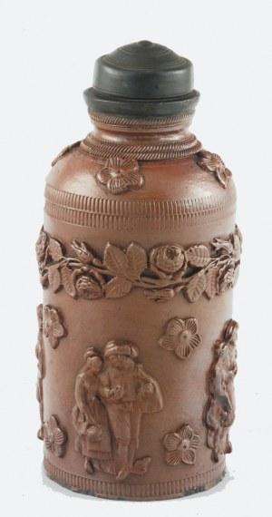 Puszka (herbatnica?), z oprawą cynową i dekoracją nakładkami