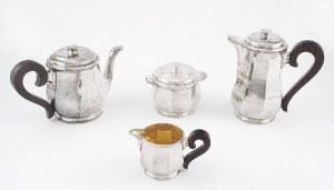 Tétard Freres (założona w 1880 roku), Komplet do kawy i herbaty art déco składający się z dzbanka do kawy, imbryka do herbaty, mlecznika i cukiernicy