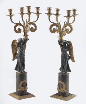 Para kandelabrów 4-ramiennych, w stylu II Cesarstwa