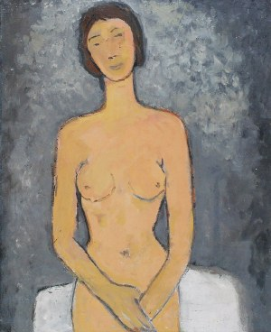 Tymon NIESIOŁOWSKI (1882-1965), Siedząca - Akt na szarym tle, 1963