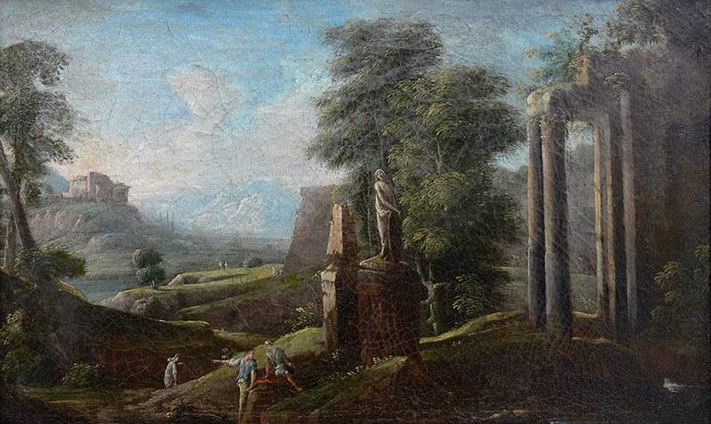 Artysta nieokreślony (2 poł. XVIII w.) Pejzaż włoski z ruinami i posągiem