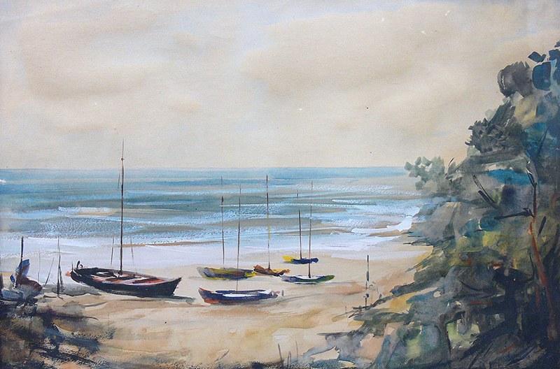 Zbigniew Litwin (1914-2001) Łodzie na plaży, 1968 r.
