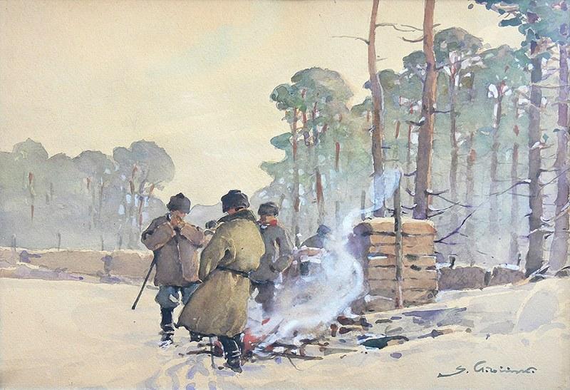 Stanisław Gibiński (1882 Rzeszów – 1971 Katowice) Przy ognisku