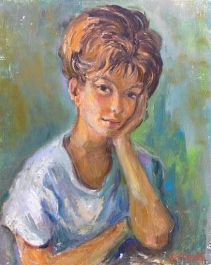 Katarzyna Librowicz (1912 Warszawa - 1991 Paryż) Portret młodej kobiety na zielonym tle
