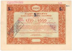 BGK, List zastawny na 1.000 franków 1933 (1.720 zł)