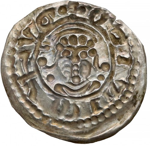 Mieszko III, Brakteat łaciński, Gniezno - Głowa w mitrze - RZADKOŚĆ