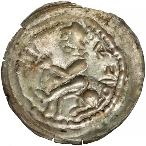 Mieszko III, Brakteat łaciński - Książe na koniu - napis odwrotnie