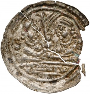 Mieszko III, Brakteat łaciński - dwie półpostacie - b.rzadki