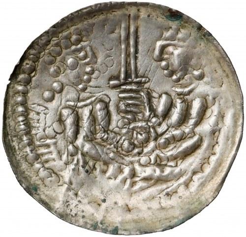 Mieszko III, Brakteat hebrajski, Gniezno - 2 postacie z mieczem - EFEKTOWNY