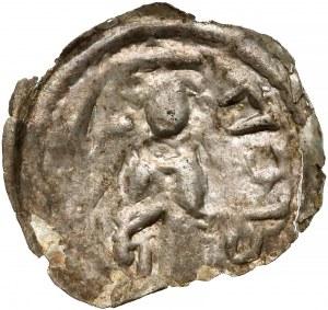 Mieszko III, Brakteat hebrajski, Kalisz - postać z gałązką - b. rzadki