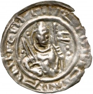 Mieszko III, Brakteat hebrajski - Książę z mieczem i chorągwią - RZADKI